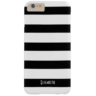 Simple Custom Black and White Striped Pattern Barely There iPhone 6 Plus Case