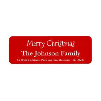 Simple Custom Merry Christmas Family Name Script Return Address Label
