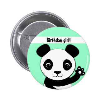 Simple cute panda Birthday girl 6 Cm Round Badge