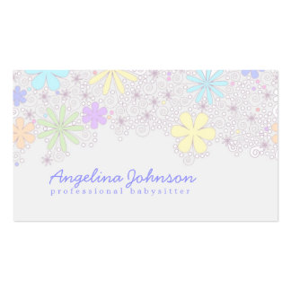 Simple Cute Pastel Flower Babysitter Card Pack Of Standard Business Cards