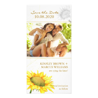 Simple, Cute Sunflower Wedding Save the Date Photo Photo Card Template