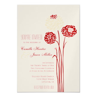 Simple Dahlia - Metallic Red Wedding Card