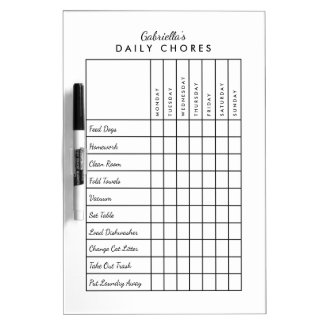 Simple Daily Chore Chart Dry Erase Board