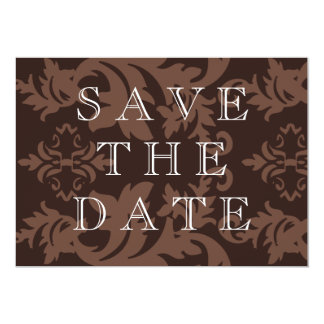 """Simple Damask Chocolate Save The Date 5"""" X 7"""" Invitation Card"""