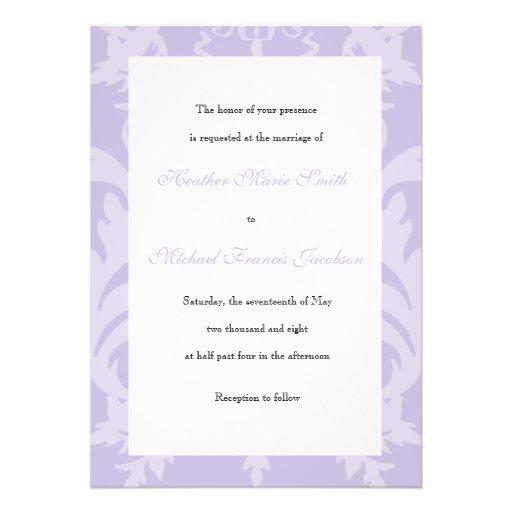 Simple Damask Lilac Wedding Invitation