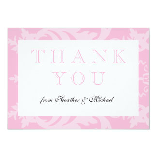 Simple Damask Pale Pink Thank You 13 Cm X 18 Cm Invitation Card
