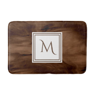 Simple Dark Brown Subtle Marble Modern Monogram Bath Mat