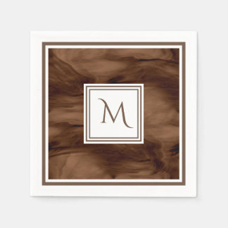 Simple Dark Brown Subtle Marble Modern Monogram Disposable Serviette
