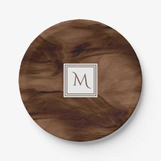Simple Dark Brown Subtle Marble Modern Monogram Paper Plate