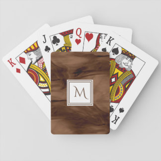 Simple Dark Brown Subtle Marble Modern Monogram Playing Cards