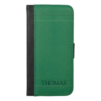 Simple Dark Green Faux Leather Look Monogram iPhone 6/6s Plus Wallet Case