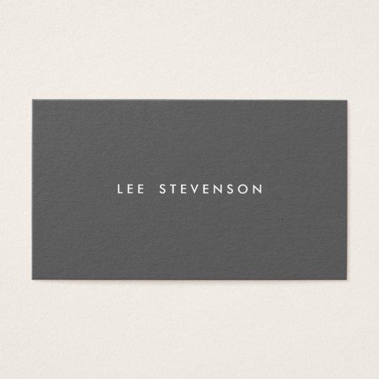 Simple Dark Grey Minimalist Modern Professional Business Card