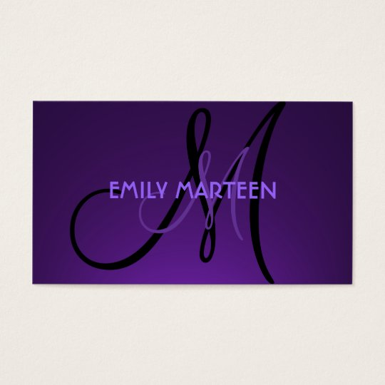 Simple dark purple custom monogram cards