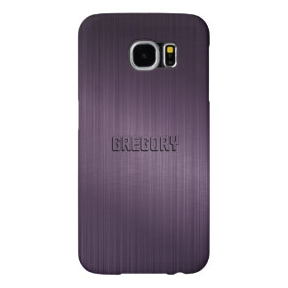 Simple Deep Purple Metallic Brushed Aluminum Samsung Galaxy S6 Cases