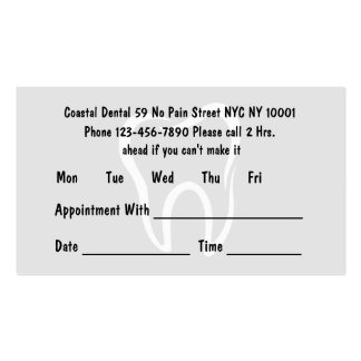 Simple Dentist Appointment Cards Pack Of Standard Business Cards