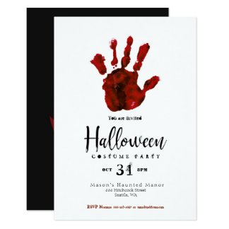 Simple Design Bloody Hand Halloween Party Invite