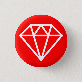 Simple Diamond - White on Red 3 Cm Round Badge