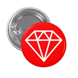 Simple Diamond - White on Red 3 Cm Round Badge