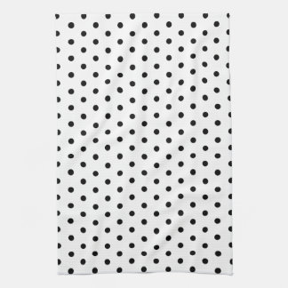 Simple Dots Black and White Polka Dot Design Tea Towel