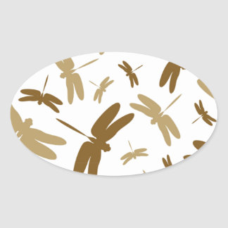 Simple Dragonfly Pattern Oval Sticker