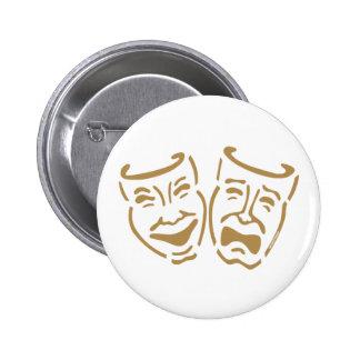 Simple Drama Masks 6 Cm Round Badge