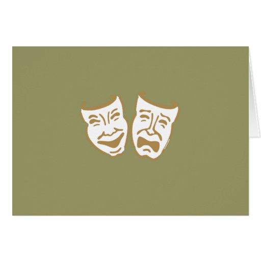 Simple Drama Masks Greeting Cards