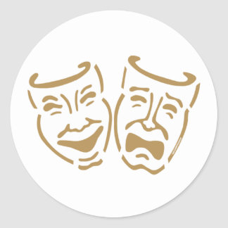 Simple Drama Masks Classic Round Sticker