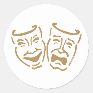 Simple Drama Masks Round Sticker