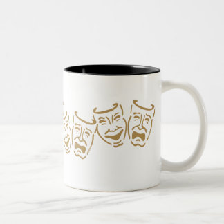 Simple Drama Masks Two-Tone Coffee Mug