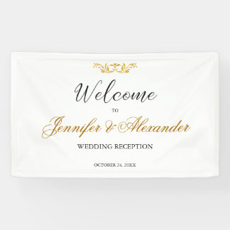 Simple editable white gold welcome wedding
