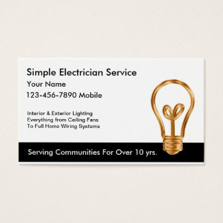 Simple Electrician Business Cards