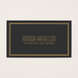 Simple Elegance Art Deco Style Gray/Gold Business Card