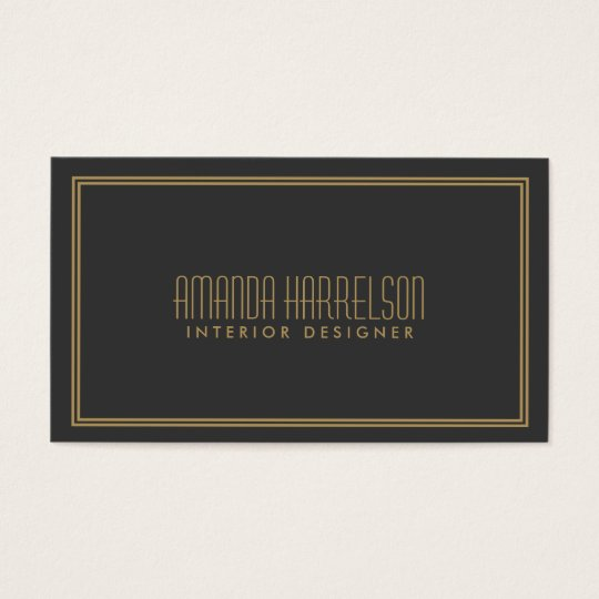 Simple Elegance Art Deco Style Grey/Gold Business Card