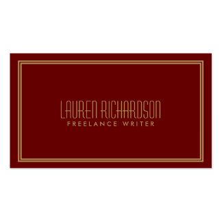Simple Elegance Art Deco Style Red/Gold Pack Of Standard Business Cards