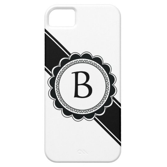 Simple Elegance Chic Retro Monogram Custom Colour Barely There iPhone 5 Case