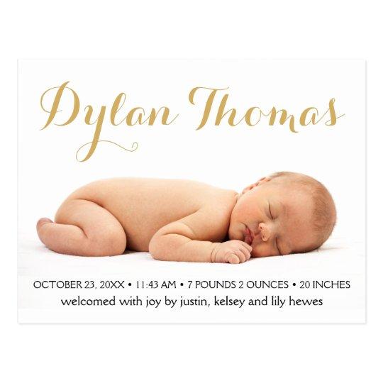 Simple Elegance Custom Photo Birth Announcements Postcard