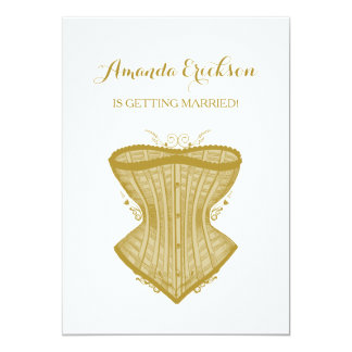 Simple Elegance Gold Corset Lingerie Bridal Shower Card