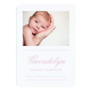 Simple Elegance Photo Girl Birth Announcement Card