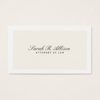 Simple Elegant Attorney Cream Business Card