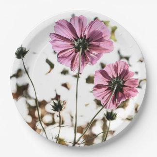Simple Elegant Back of Flower Photo Paper Plates