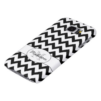 Simple Elegant Black and white Chevron Monogram Samsung Galaxy S6 Cases