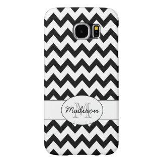 Simple Elegant Black and white Chevron Monogram Samsung Galaxy S6 Cases