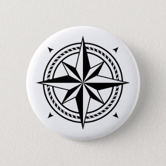 Simple, elegant black and white compass rose 6 cm round badge