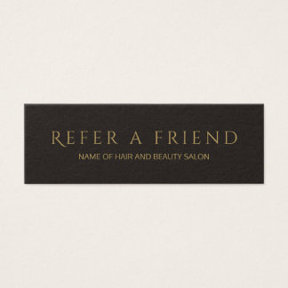 Simple Elegant Black Faux Gold Referral Card