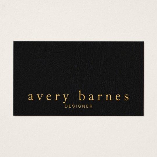 Simple Elegant Black Leather Look Professional Business Card