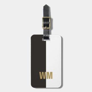 Simple Elegant Black White Faux Gold Monogram Luggage Tag