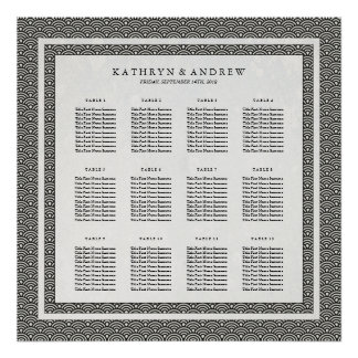 Simple Elegant Black+White Seigaiha Seating Chart Poster