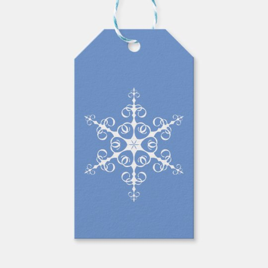 Simple Elegant Blue and White Snowflake Gift Tags