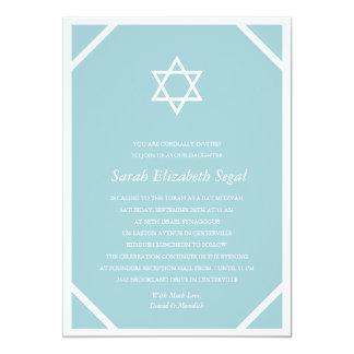 Simple Elegant Blue Bat Mitzvah 13 Cm X 18 Cm Invitation Card