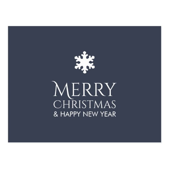 Simple Elegant Blue Snowflake Xmas Postcard